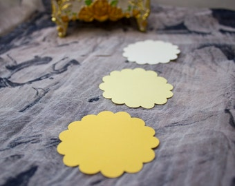 Yellow Shades Scalloped Circle Die Cuts - Gift Tag - Favor Tag - Scalloped Circles -  Card Stock Circles