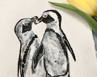 Penguin Couple, Original Ink Drawing