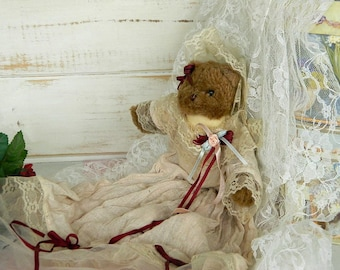 Teddy Bear Bride Doll - Shabby Chic Bear