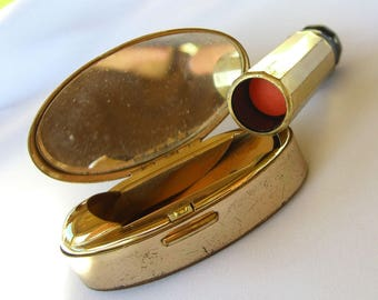 Vintage Max Factor Lipstick Case Compact in Misty Coral, Retro Cosmetics Makeup Gifts for Her