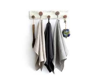Pure linen kitchen towels set of 3 - Stonewashed linen dish towels - Rustic linen tea towels - Eco linen towel