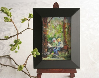 Original oil painting, Framed  painting, 'Sunday Afternoon'
