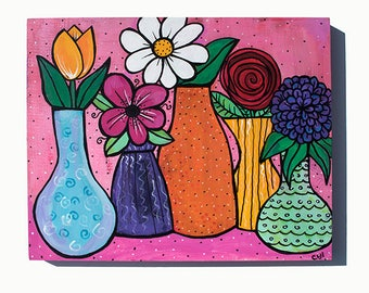 Flower Still Life Painting - Flowers in Vases - Original Mixed Media Floral Painting by Claudine Intner - Bright Colors Art