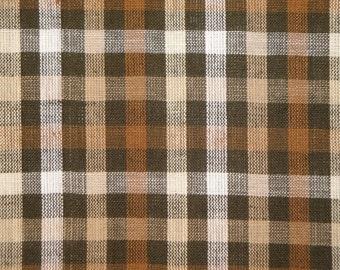 Homespun Material | Homespun Fabric | Craft Fabric | Quilt Material | Cotton Fabric  Brown And Natural Large Check 1 Yard