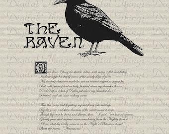 Halloween Edgar Allan Poe The Raven Bird Poem Wall Decor Art Printable Digital Download for Iron on Transfer Fabric Pillows Tea Towels DT247
