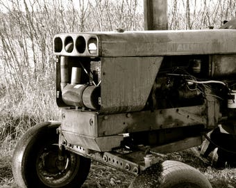 Old Tractor, Black and White Print, Farm Print, Maine Farms, Maine Photography, Downeast Maine, Tractor Photo