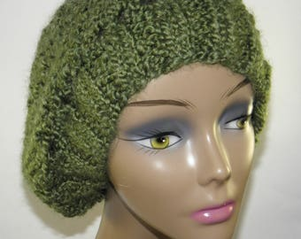Olive green hand knit cap