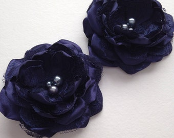 Hair Flower - Navy Blue Satin and Lace - 3 inch - Hair Flower with Pearl Center, Hair Bow, Hair Clip