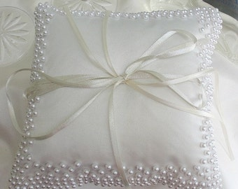 Wedding Ring Pillow for Ring bearer in white with white beads details custom made 8x8 inches