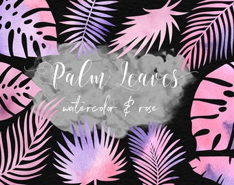 Rose And Watercolor Palm Leaves ClipArt, Rose Watercolor Leaf, Watercolor Clipart, Tropical Palm ClipArt, 11 PNG Leaf Graphics, BUY3FOR6