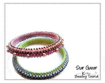 Beading Patterns, Instructions, Tutorials, Right Angle Weave, RAW, Narrow, Ethnic Skinny Tribal Bangles, Instant Download Pattern STAR GAZER