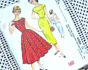 Vintage 50s Wiggle or New Look Dress Sewing Pattern, McCalls 4486