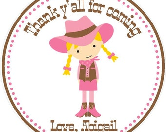 Cowgirl Favor Tags - Cowgirl Birthday Favors - Cowgirl Party Favor Tags ( Set of 12)