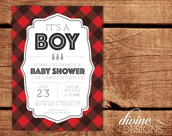 Red Buffalo Plaid Lumberjack Baby Shower Invitation - Personalized Digital Printable or Prints! - Fast Turnaround - Baby Boy Shower Invite