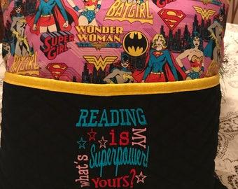 Wonder Woman Super Girl Bat Girl Reading Pocket Pillow