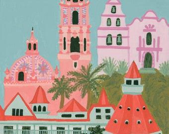 San Diego, California- Graphic Cityscape 5x7 Art Print