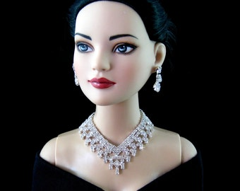 """Doll jewelry necklace for Tonner American Model, BJD,  and other 22"""" fashion dolls,  by SohoDolls, necklace and earrings"""