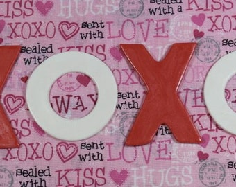 Fondant Red and White XOXO Hugs & Kisses Cupcake Toppers