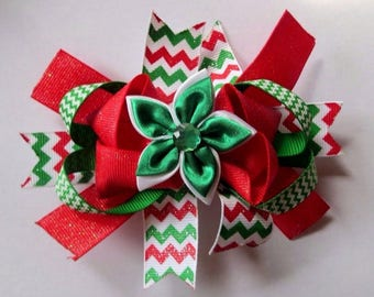 """5"""" Red Green and White Chevron Christmas Sparkle Layered Hair Bow"""