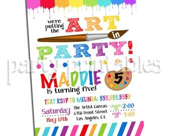 Art Party Invitation, Art Birthday Party Invitation, Painting Party Invitation, Digital Download