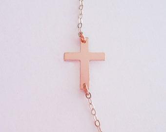 Rose Gold Cross Necklace - Sideways Cross - Celebrity Jewelry