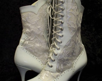 Victorian Lace Boots Size 7 Leather \/ Lace \/ Granny Boots \/ Tall Boots \/ High Heel \/ Gorgeous N Sexy \/ Victorian Style