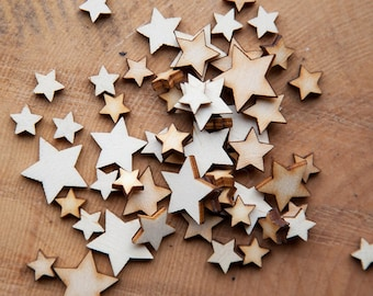 Wooden Stars, mini mixed pack, Cardmaking,Scrapbooking,Star Shape, Blank Embellishment