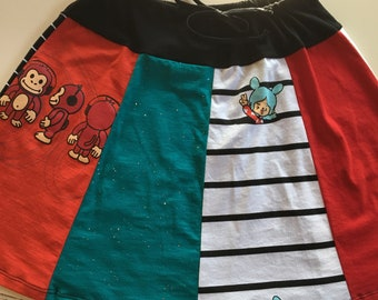 Pocket Monkey Drawstring Skirt (size 0-6)