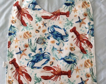Unique Reversible Lobster/Crab Seafood Adult Cover Up, Lobsta/Crab bib, Seafood Adult Bib, Reversible Clothing Protector for Eating Lobster