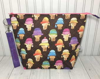 Large Wedge Bag with Handle - We All Scream For Ice Cream