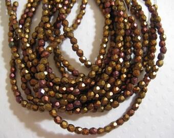 3mm Fire Polish Czech Glass Beads - Metallic Iris Mix - 50 beads