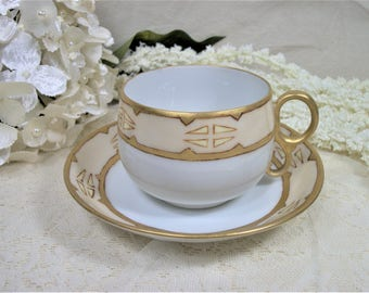 Vintage Cup and Saucer, Hand Painted, W Austria, Gold and Tan, Tea Cup and Saucer, Coffee Cup and Saucer