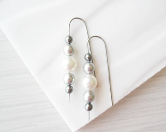 Nickel Free Pearl Threader Earrings, Niobium Jewelry, White, Grey, Neutral, Modern Bridal Jewelry, Simple, Silver, Wedding, Ombre