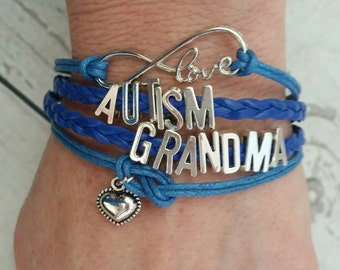 Autism Bracelet - Autism Grandma Blue Bracelet is a great gift for her, Autism Awareness and Aspergers Sydrome while wearing bracelet