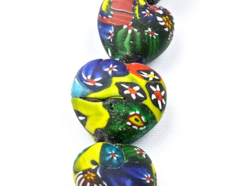 Colorful Indian Millefiori Heart Shaped Beads OLD 20-24mm  STRAND