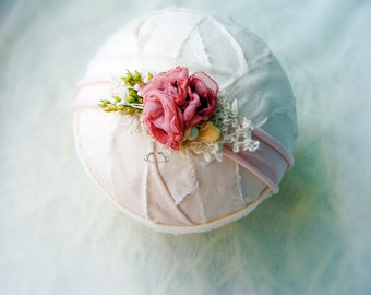 Newborn photography tieback prop, Newborn flower headband, Newborn photo prop tieback, Flower headband prop