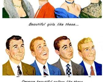 1949 Arrow White Shirts & Morton's Salt Advertisements - Vintage Mens Fashion Suits Haberdashery Haute Couture Romantic Wall Art Decor Print