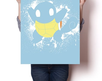 "Squirtle inspired paint splatter poster | 24"" x 18"" 