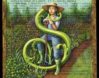 Whimsical garden art print, Scandent: flower gardener attacked while weeding. Gift for gardener, alphabet letter S, surreal garden art
