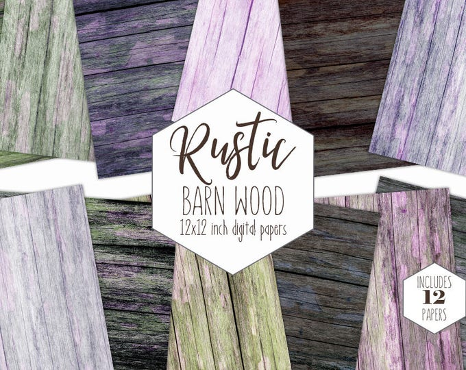 RUSTIC BARN WOOD Digital Paper Pack Brown Wood Backgrounds Gray Wood Grain Scrapbook Papers Wooden Board Textures Commercial Use Clipart