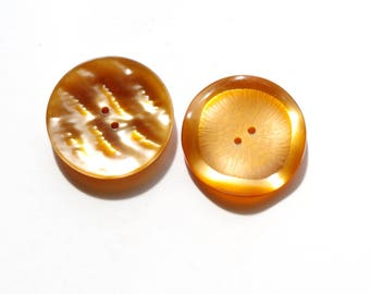 Buttons 2 large vintage yellow orange light of 35 mm in diameter.