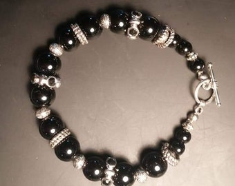 Reduced for Mother's Day!!!  Black and silver beaded bracelet