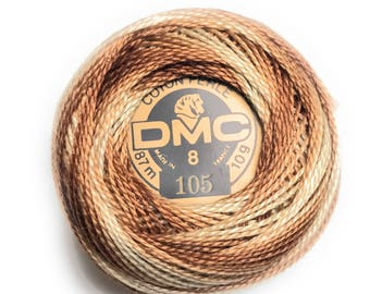DMC 105 Pearl Cotton Thread | Size 8 | Variegated Tan, Brown