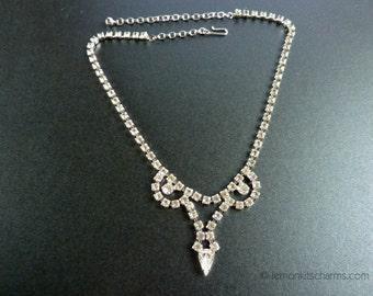 Vintage Clear Rhinestone Drop Necklace, Jewelry 1950s Mid-century, Choker, Silvertone Silver, Festoon Scalloped, Evening Diamante, Classic