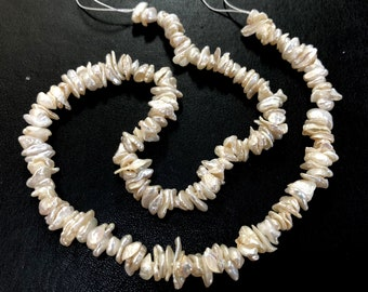 "Ivory white Keishi Pearls 6-8mm center drilled freshwater pearls 15"" strand"
