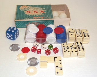 Dog Chips,bakelite dice,Domino's,Box poker chips,Celluloid ,old plastic junk  drawer Lot,mixed media supplies