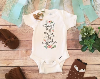 Though She Be But Little She Is Fierce Onesie®, Boho Baby Clothes, Baby Girl Clothes, Floral Onesie, Bohemian Baby Bodysuit, Hippe Baby Girl