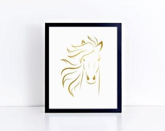 "Wall Art ""Portrait of a Horse""  - Foil Prints, Home Decor & Gift Prints,  8x10"