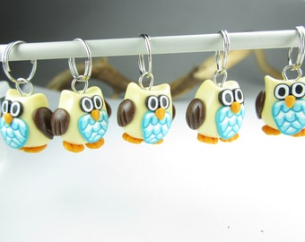 Owl Knitting Stitch Markers - Set of 5, gift for knitters, owl charms, stitch markers, polymer clay, owl pendant, knitting accessories