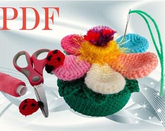 Small crochet Gift for her Pattern Crochet box Pin cushion Easy crochet pattern pdf flower pattern pdf gift to make for mom pincushions